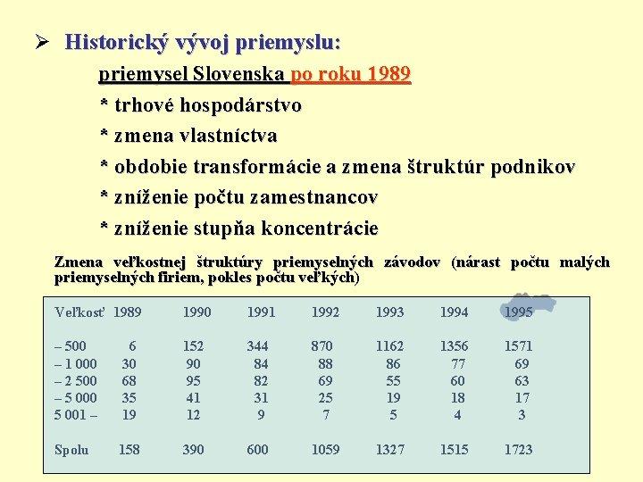 Ø Historický vývoj priemyslu: priemysel Slovenska po roku 1989 * trhové hospodárstvo * zmena