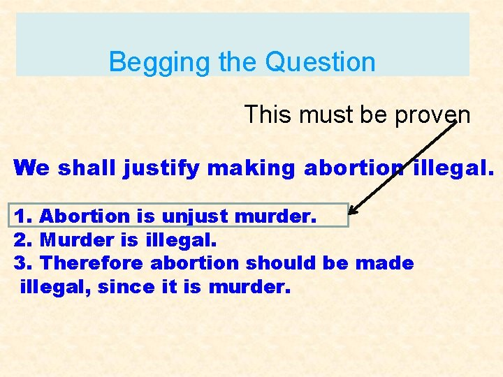 Begging the Question This must be proven We shall justify making abortion illegal. 1.