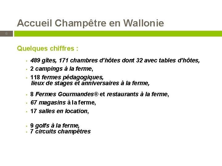 Accueil Champêtre en Wallonie 6 Quelques chiffres : 489 gîtes, 171 chambres d'hôtes dont