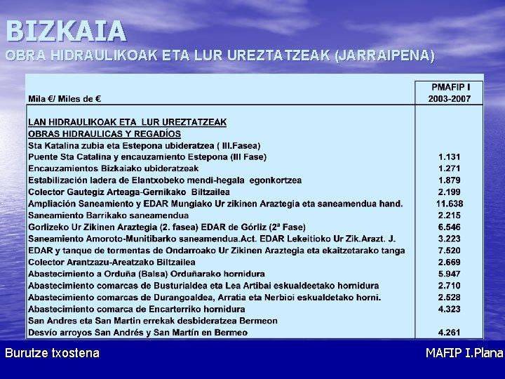 BIZKAIA OBRA HIDRAULIKOAK ETA LUR UREZTATZEAK (JARRAIPENA) Burutze txostena MAFIP I. Plana