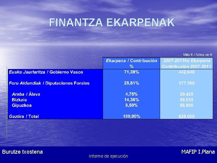 FINANTZA EKARPENAK Burutze txostena Informe de Ejecución Informe de ejecución MAFIP I. Plana Plan