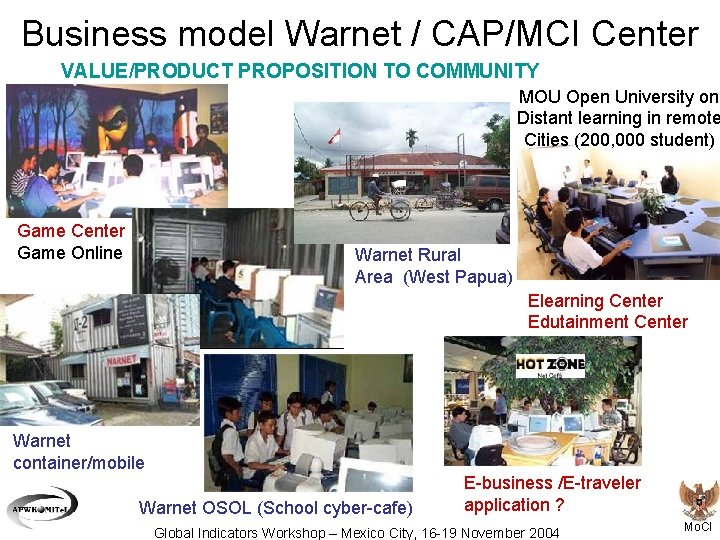 Business model Warnet / CAP/MCI Center VALUE/PRODUCT PROPOSITION TO COMMUNITY MOU Open University on