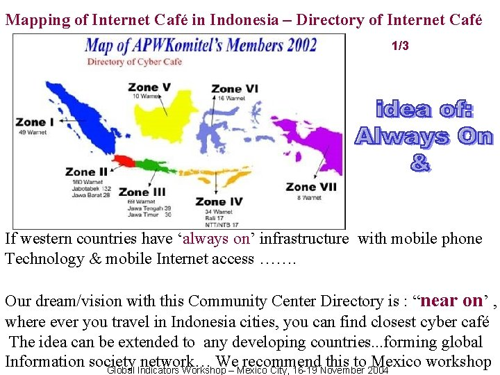 Mapping of Internet Café in Indonesia – Directory of Internet Café 1/3 If western