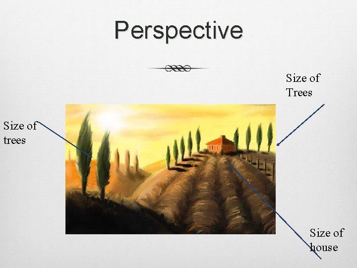 Perspective Size of Trees Size of trees Size of house