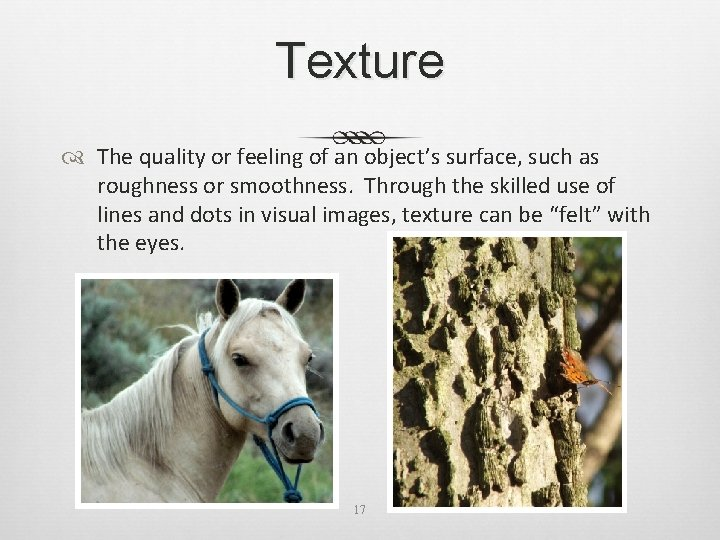 Texture The quality or feeling of an object's surface, such as roughness or smoothness.
