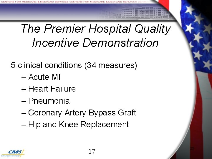 The Premier Hospital Quality Incentive Demonstration 5 clinical conditions (34 measures) – Acute MI