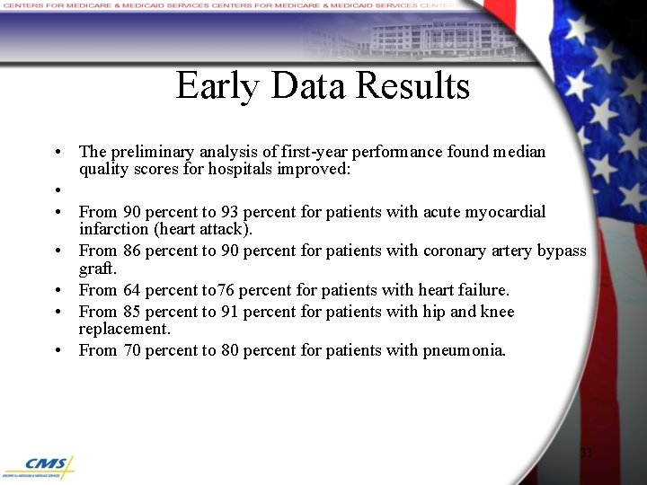 Early Data Results • The preliminary analysis of first-year performance found median quality scores