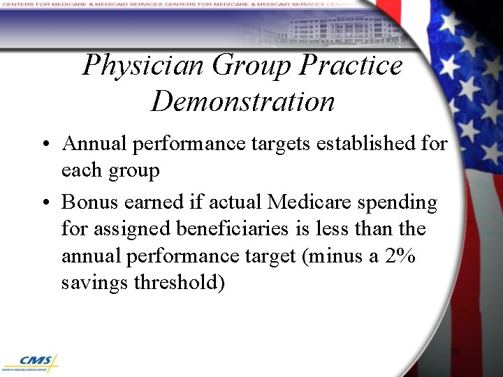 Physician Group Practice Demonstration • Annual performance targets established for each group • Bonus