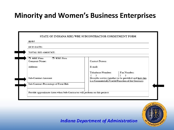 Minority and Women's Business Enterprises Indiana Department of Administration