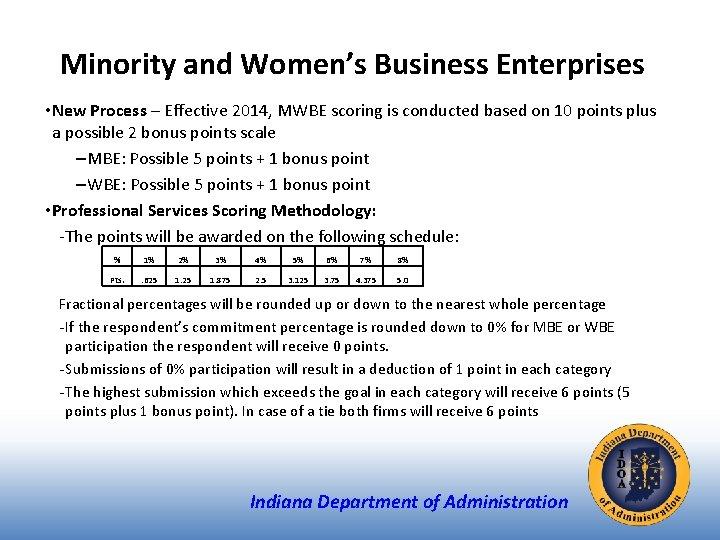 Minority and Women's Business Enterprises • New Process – Effective 2014, MWBE scoring is