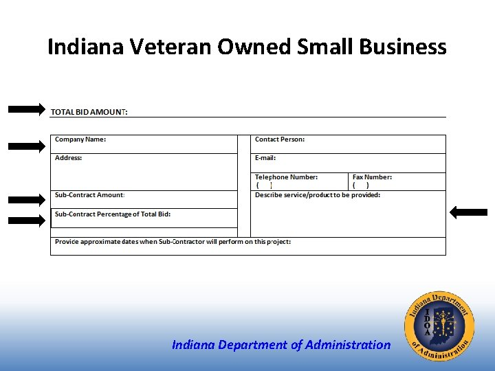 Indiana Veteran Owned Small Business Indiana Department of Administration
