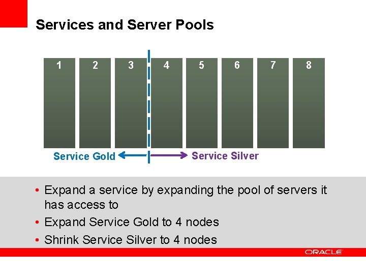 Services and Server Pools 1 2 Service Gold 3 4 5 6 7 8