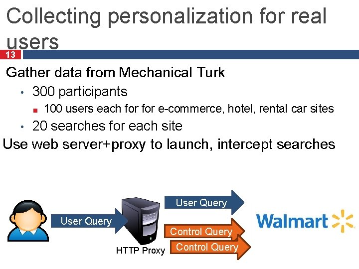 Collecting personalization for real users 13 Gather data from Mechanical Turk • 300 participants