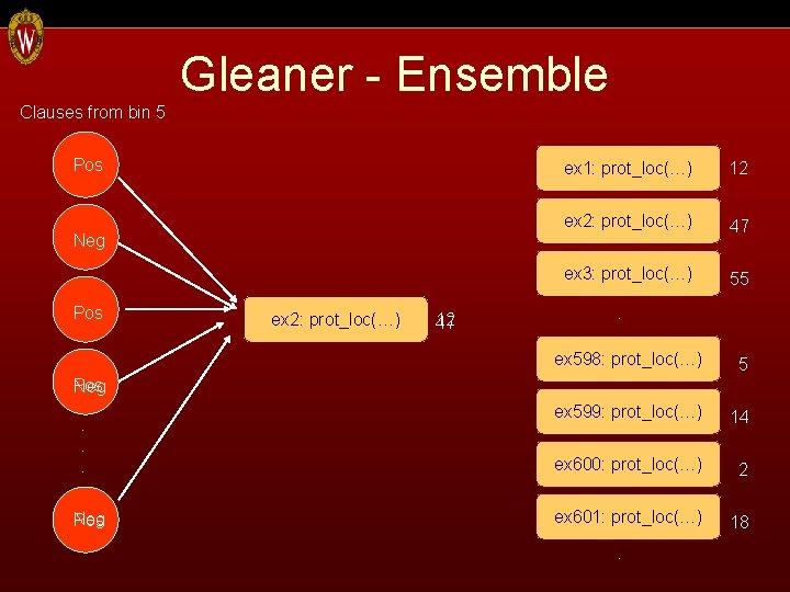 Clauses from bin 5 Gleaner - Ensemble Pos Neg Pos ex 1: prot_loc(…) ex