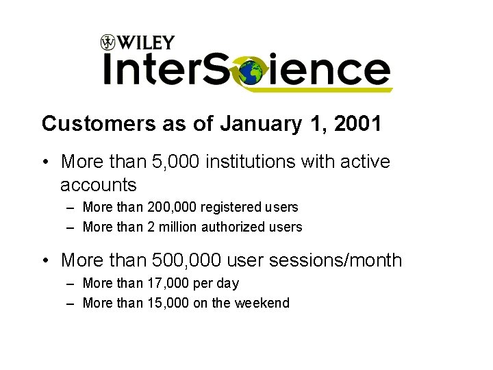 Customers as of January 1, 2001 • More than 5, 000 institutions with active