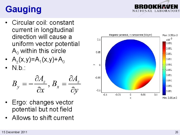 Gauging • Circular coil: constant current in longitudinal direction will cause a uniform vector