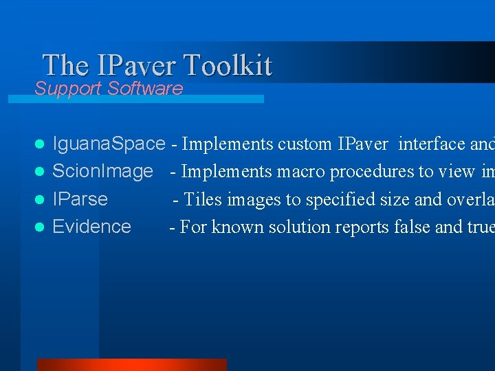 The IPaver Toolkit Support Software Iguana. Space - Implements custom IPaver interface and l