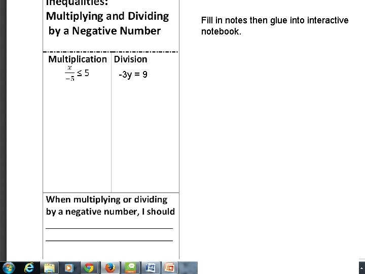 Solving Inequalities by Fill in notes then glue into interactive Multiplying or Dividing notebook.