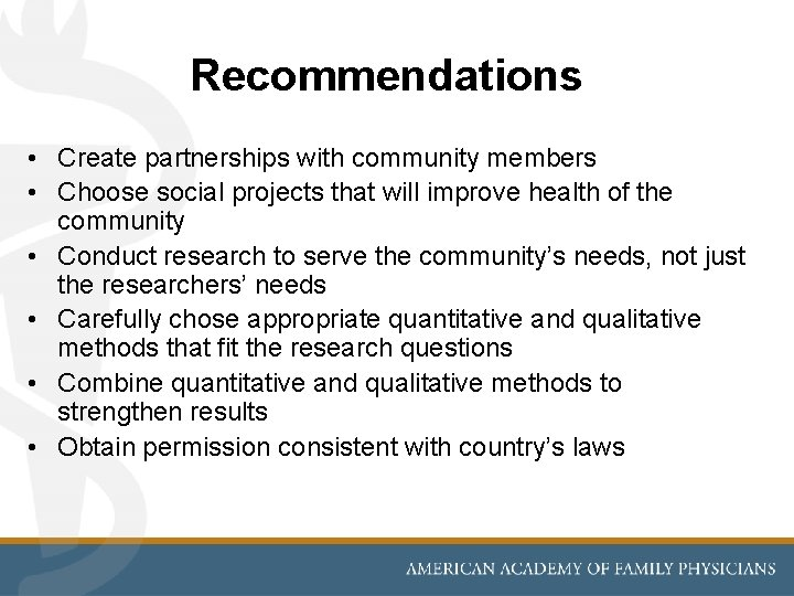 Recommendations • Create partnerships with community members • Choose social projects that will improve