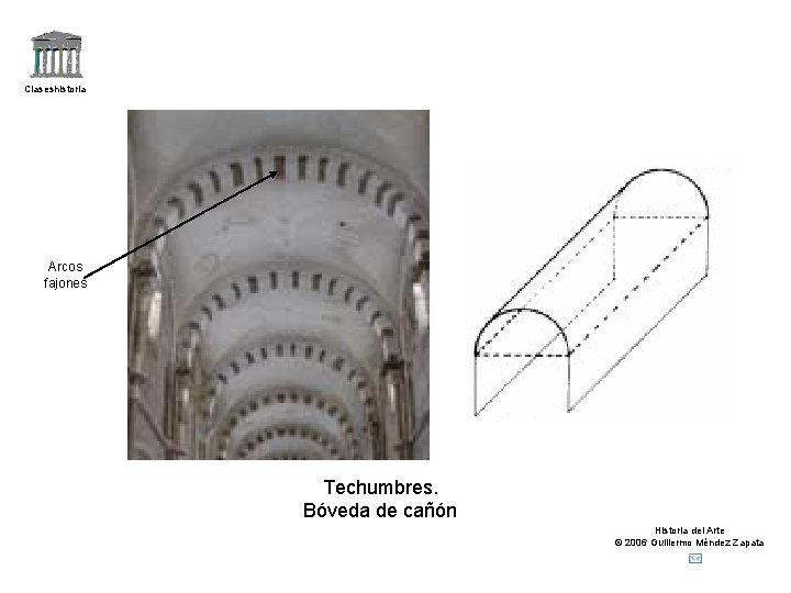 Claseshistoria Arcos fajones Techumbres. Bóveda de cañón Historia del Arte © 2006 Guillermo Méndez