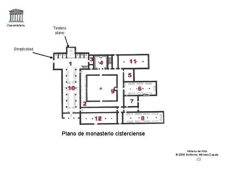 Claseshistoria Testero plano Simplicidad Plano de monasterio cisterciense Historia del Arte © 2006 Guillermo