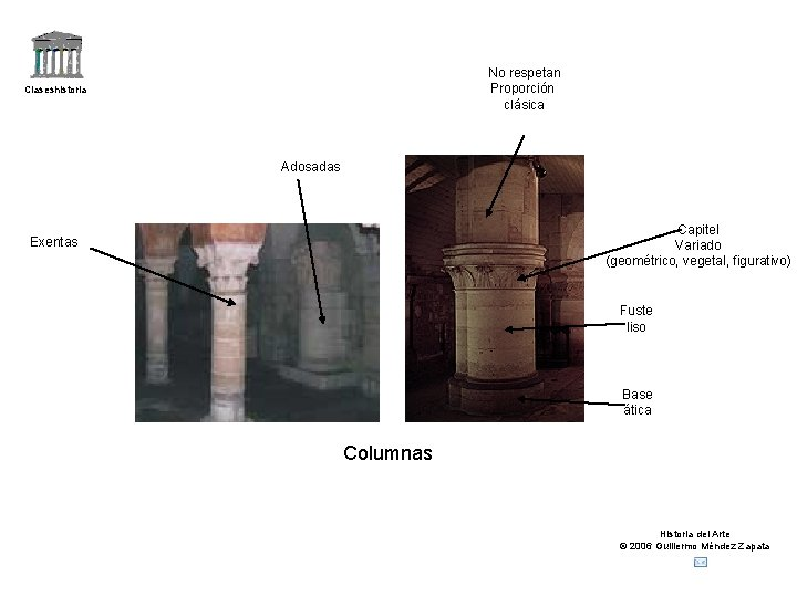 No respetan Proporción clásica Claseshistoria Adosadas Capitel Variado (geométrico, vegetal, figurativo) Exentas Fuste liso