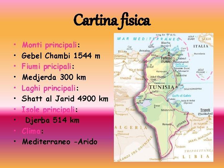 Cartina fisica • • • Monti principali: Gebel Chambi 1544 m Fiumi pricipali: Medjerda