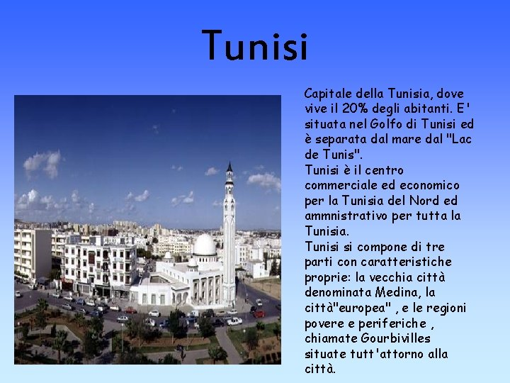 Tunisi Capitale della Tunisia, dove vive il 20% degli abitanti. E' situata nel Golfo