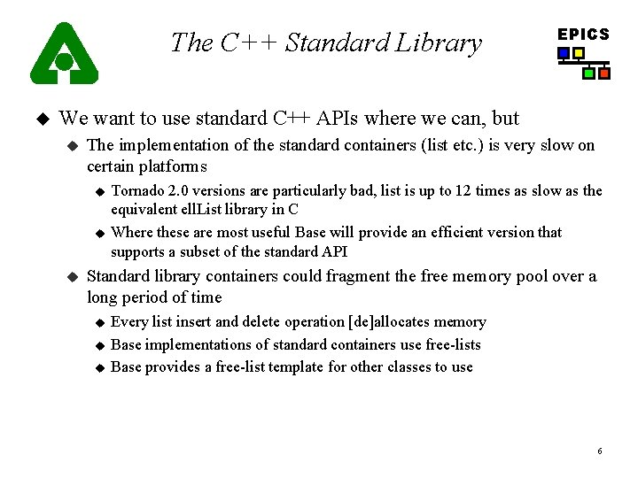 The C++ Standard Library u EPICS We want to use standard C++ APIs where