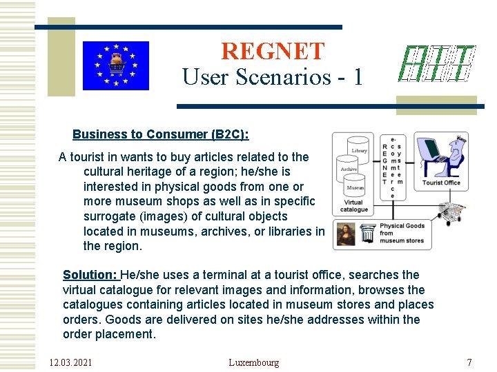 REGNET User Scenarios - 1 Business to Consumer (B 2 C): A tourist in