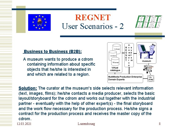 REGNET User Scenarios - 2 Business to Business (B 2 B): A museum wants