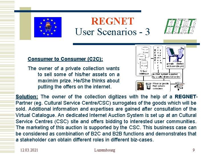 REGNET User Scenarios - 3 Consumer to Consumer (C 2 C): The owner of