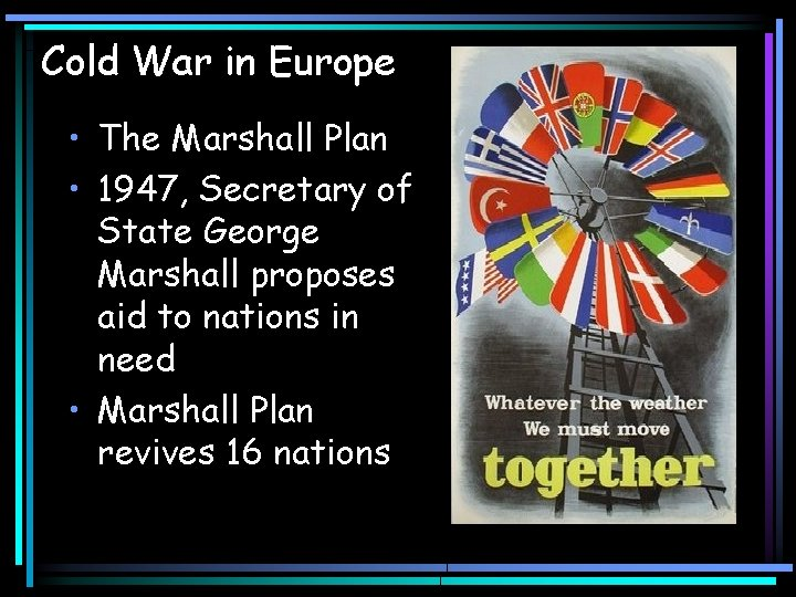 Cold War in Europe • The Marshall Plan • 1947, Secretary of State George