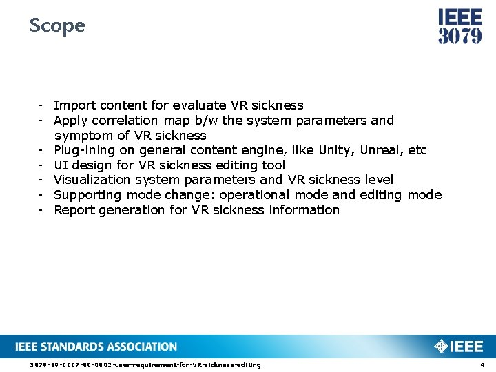Scope - Import content for evaluate VR sickness - Apply correlation map b/w the