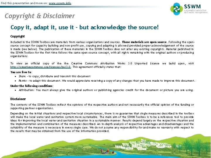 Find this presentation and more on: www. ssswm. info. Copyright & Disclaimer Copy it,