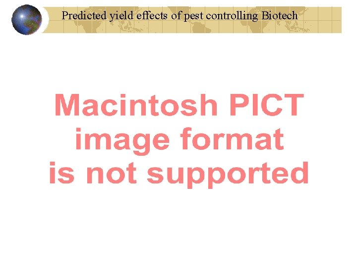 Predicted yield effects of pest controlling Biotech