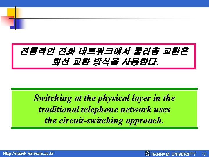 전통적인 전화 네트워크에서 물리층 교환은 회선 교환 방식을 사용한다. Switching at the physical layer