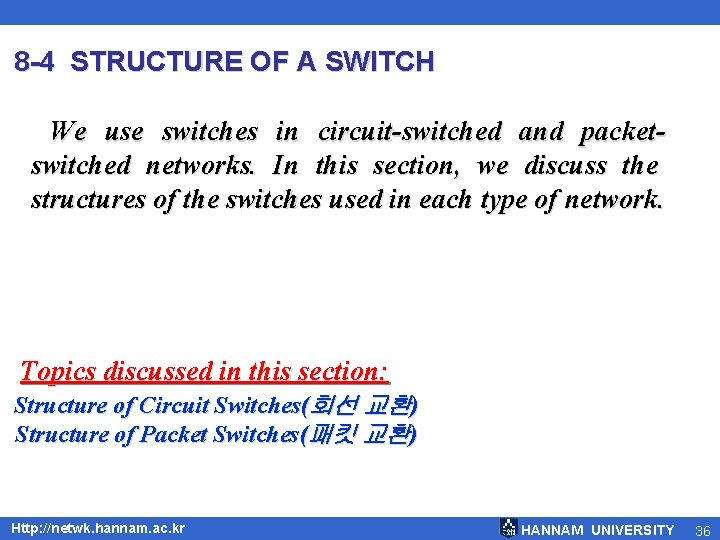 8 -4 STRUCTURE OF A SWITCH We use switches in circuit-switched and packetswitched networks.