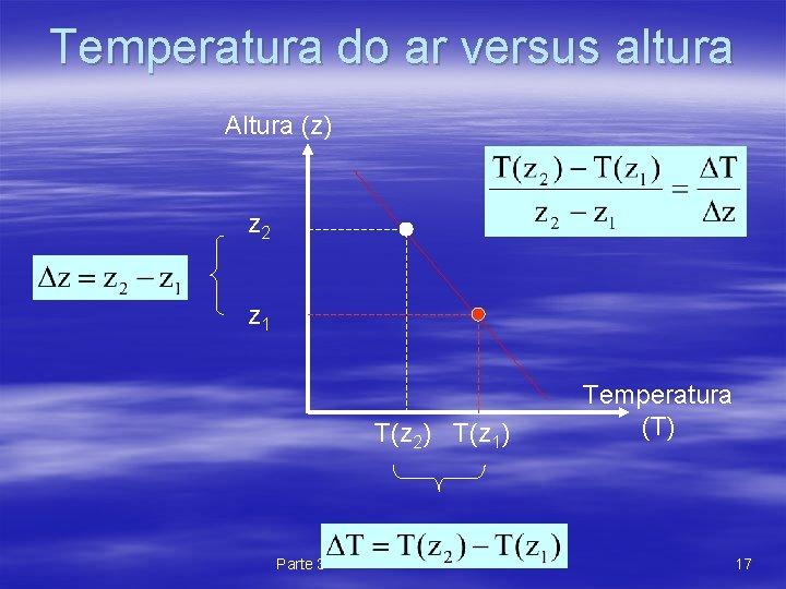 Temperatura do ar versus altura Altura (z) z 2 z 1 T(z 2) T(z