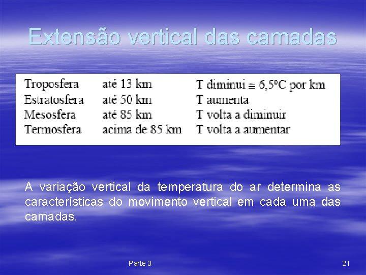 Extensão vertical das camadas A variação vertical da temperatura do ar determina as características