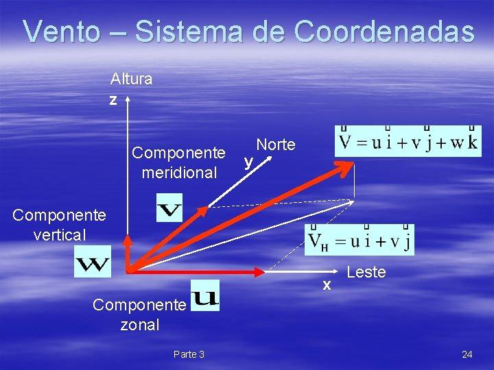 Vento – Sistema de Coordenadas Altura z Componente y Norte meridional Componente vertical x
