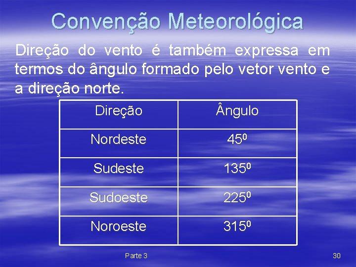 Convenção Meteorológica Direção do vento é também expressa em termos do ângulo formado pelo