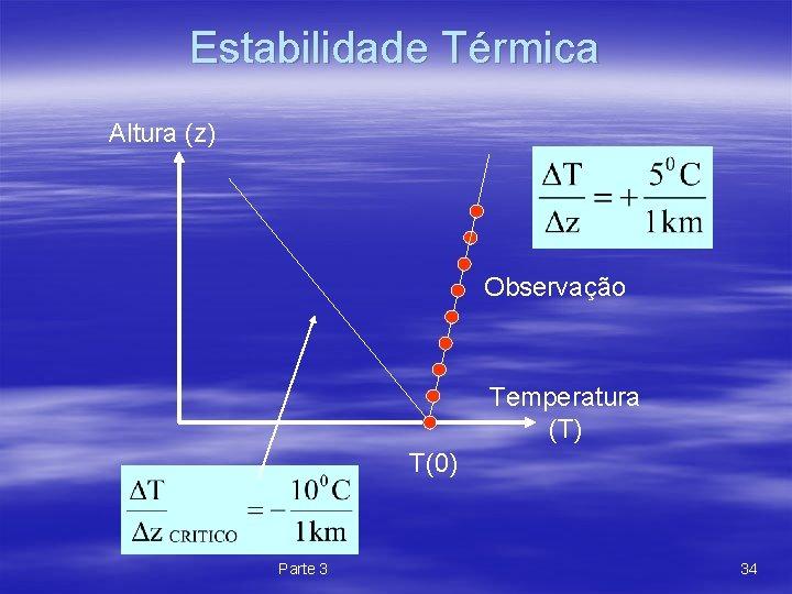 Estabilidade Térmica Altura (z) Observação Temperatura (T) T(0) Parte 3 34