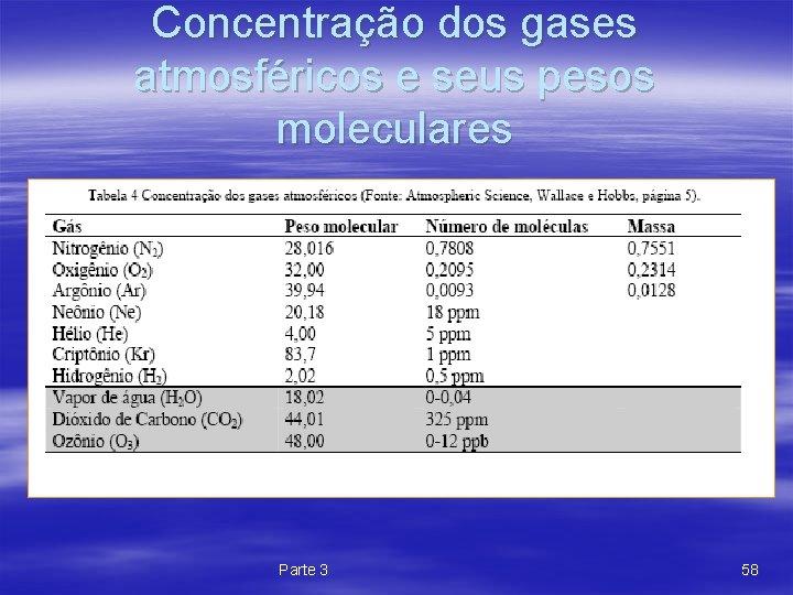 Concentração dos gases atmosféricos e seus pesos moleculares Parte 3 58