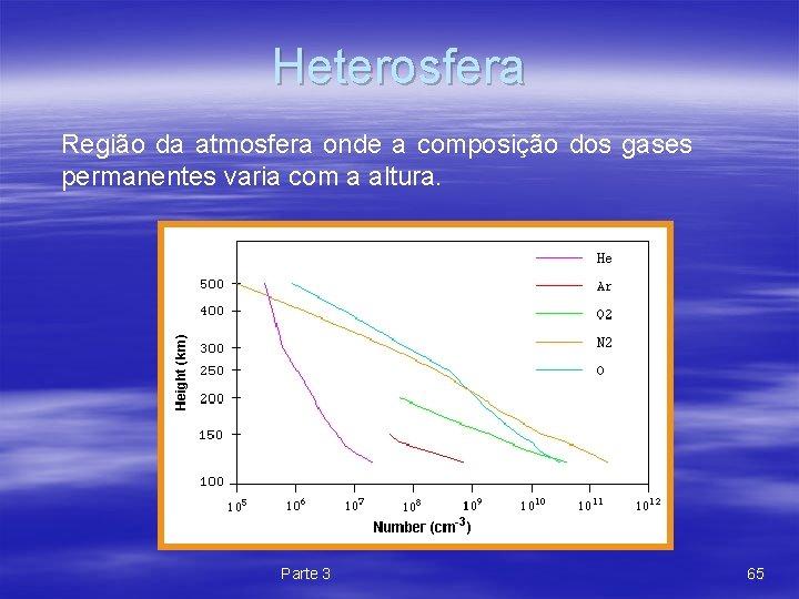 Heterosfera Região da atmosfera onde a composição dos gases permanentes varia com a altura.