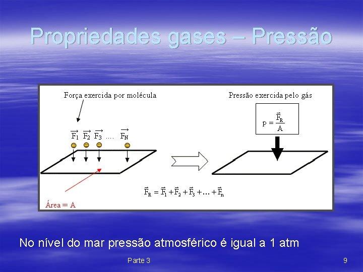 Propriedades gases – Pressão No nível do mar pressão atmosférico é igual a 1