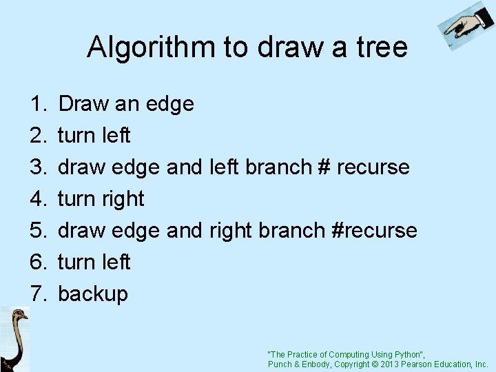 Algorithm to draw a tree 1. 2. 3. 4. 5. 6. 7. Draw an