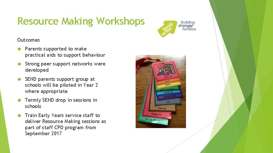 Resource Making Workshops Outcomes Parents supported to make practical aids to support behaviour Strong
