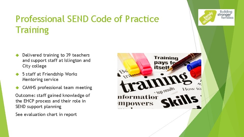 Professional SEND Code of Practice Training Delivered training to 39 teachers and support staff