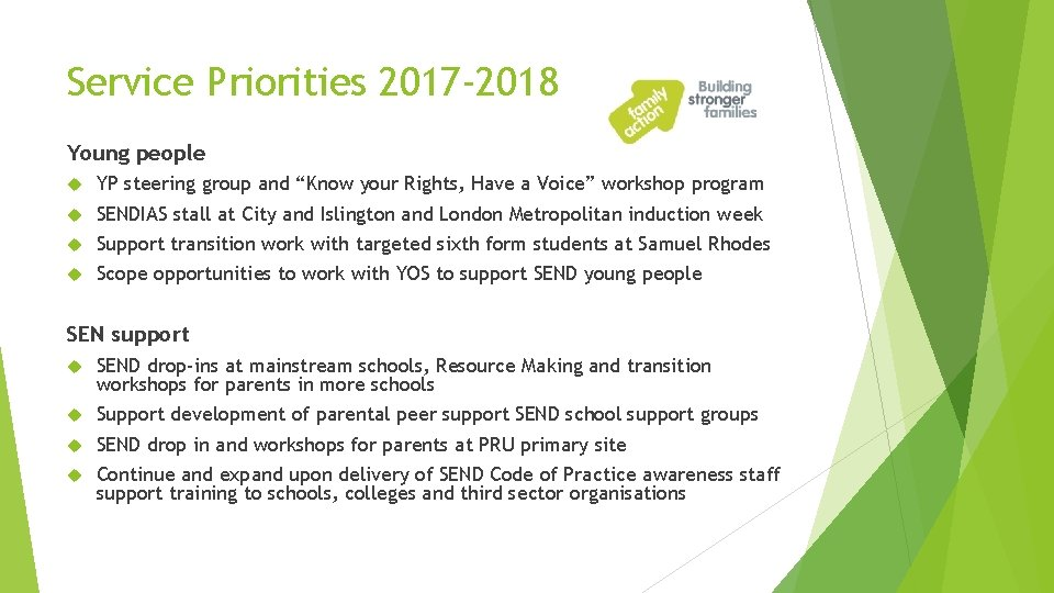 """Service Priorities 2017 -2018 Young people YP steering group and """"Know your Rights, Have"""
